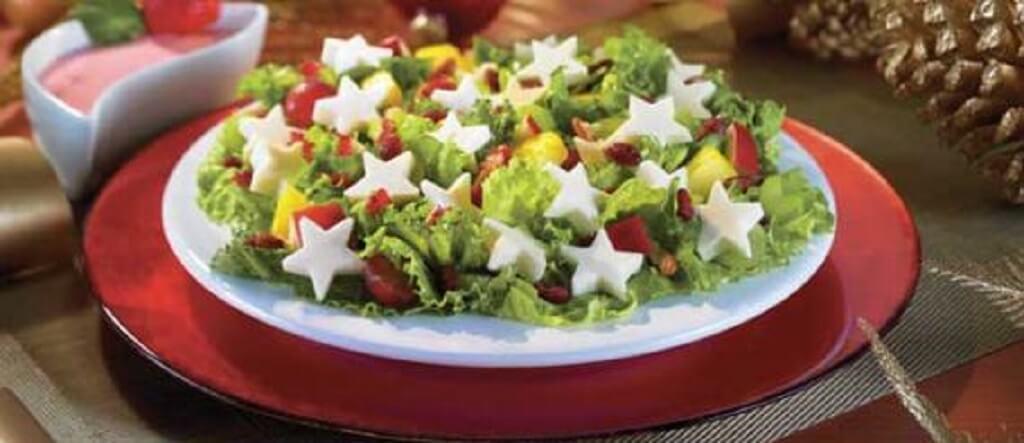 Ensalada con queso en forma de estrella